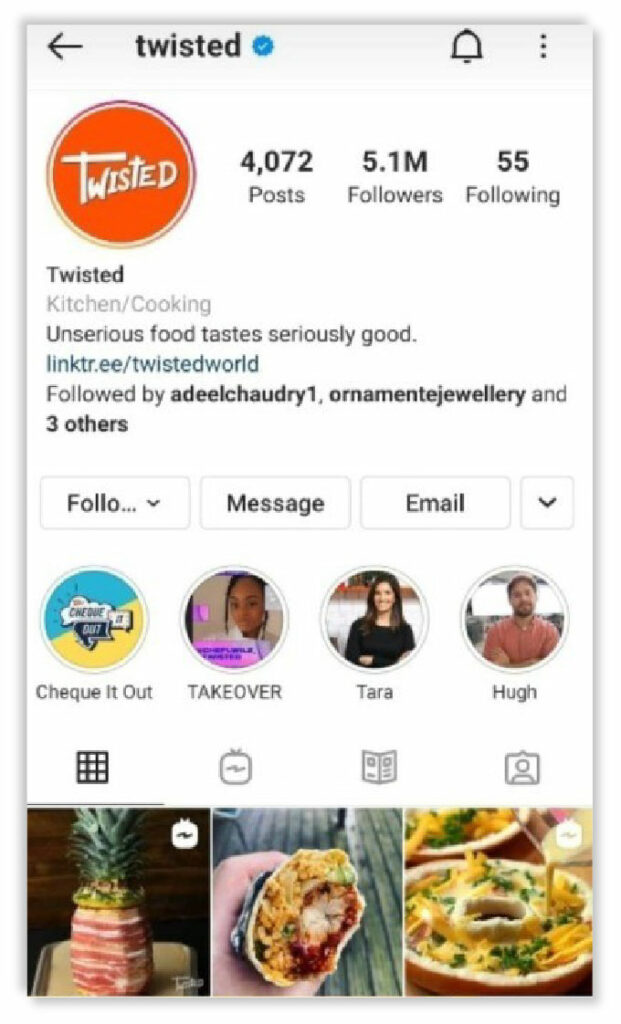 How Instagram Business profile looks when you search them
