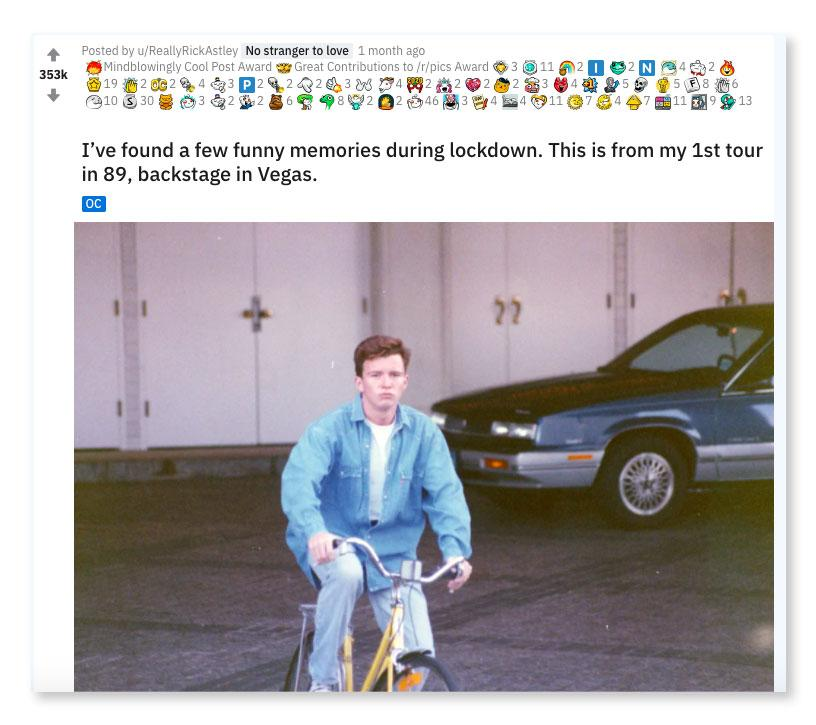 Rick Astley's most upvoted reddit post