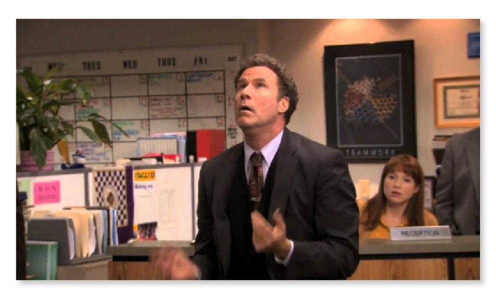 """scene of Will Ferrell juggling in the show """"The Office"""""""