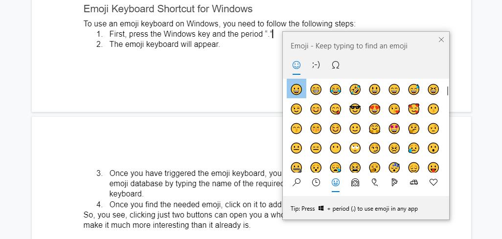 Emoji keyboard shortcut for Windows