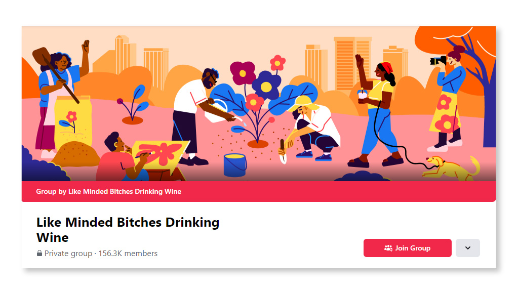 Like Minded Bitches Drinking Wine
